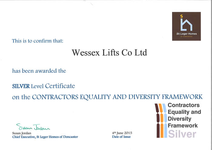 Wessex Lifts award certificate for equality and diversity